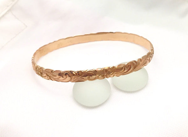 Traditional Hawaiian Hand Engraved 14k Gold Bracelet (6mm width, cutout design) - Aolani Hawaii - 3