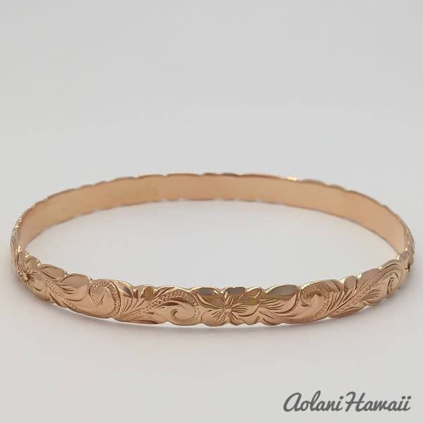Traditional Hawaiian Hand Engraved 14k Gold Bracelet (6mm width, cutout design) - Aolani Hawaii - 4