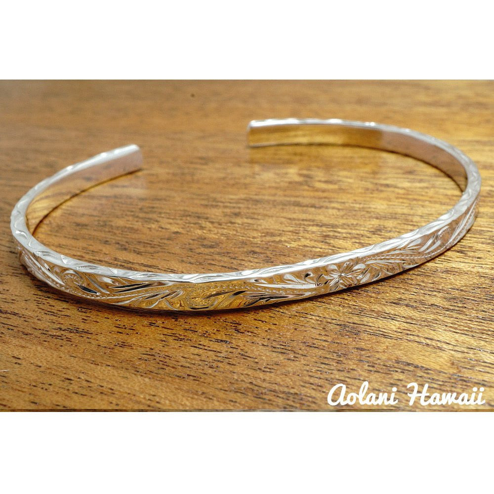 Traditional Hawaiian Hand Engraved Sterling Silver Bracelet (4mm width & 2mm thickness) - Aolani Hawaii - 1
