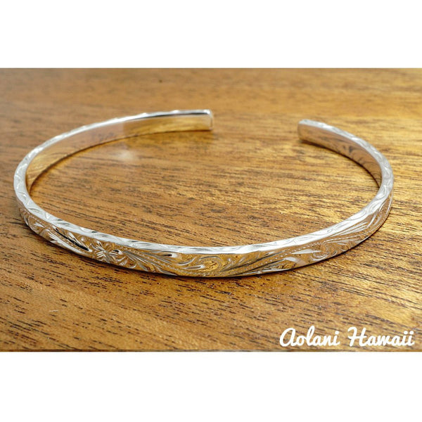 Traditional Hawaiian Hand Engraved Sterling Silver Bracelet (4mm width & 2mm thickness) - Aolani Hawaii - 2