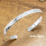 Traditional Hawaiian Hand Engraved Sterling Silver Bracelet (6mm width, Barrel Style) - Aolani Hawaii - 2