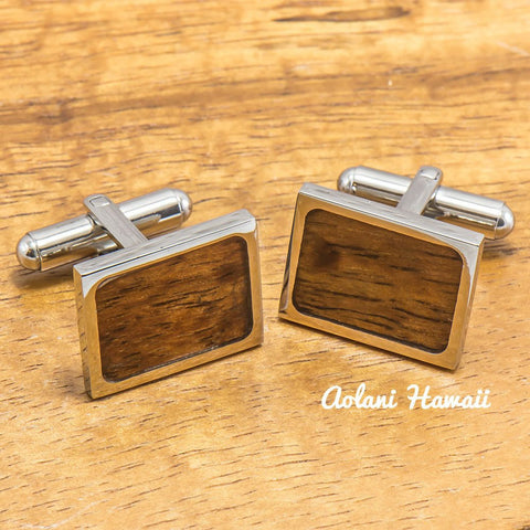 Titanium Cuff links with Hawaiian Koa Wood Inlay (13mm x 19mm)