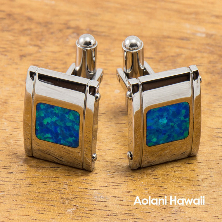 Tungsten Cuff links with Opal Inlay (14mm x 20mm)