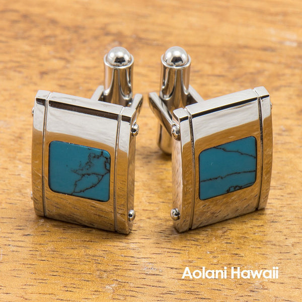 Tungsten Cuff links with Turquoise Inlay (14mm x 20mm) - Aolani Hawaii