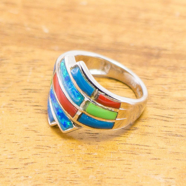 Rainbow Colored Stone Inlay Sterling Silver Ring