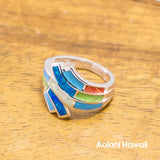 Rainbow Color Stone Inlay Sterling Silver Ring