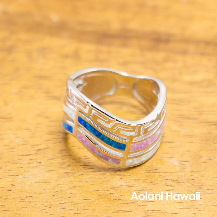 Waved Rainbow Colore Stone Inlay Sterling Silver Ring
