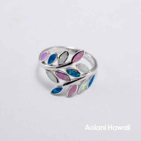 Leaf Rainbow Colored Stone Inlay Sterling Silver Ring