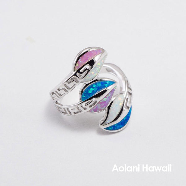 Silver Leaf Rainbow Colored Stone Inlay Ring