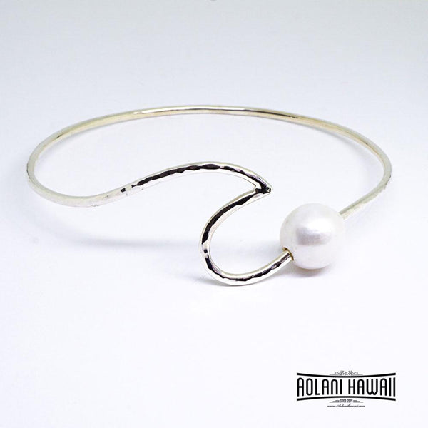 Handmade Wave Sterling Silver Bracelet with Pearl