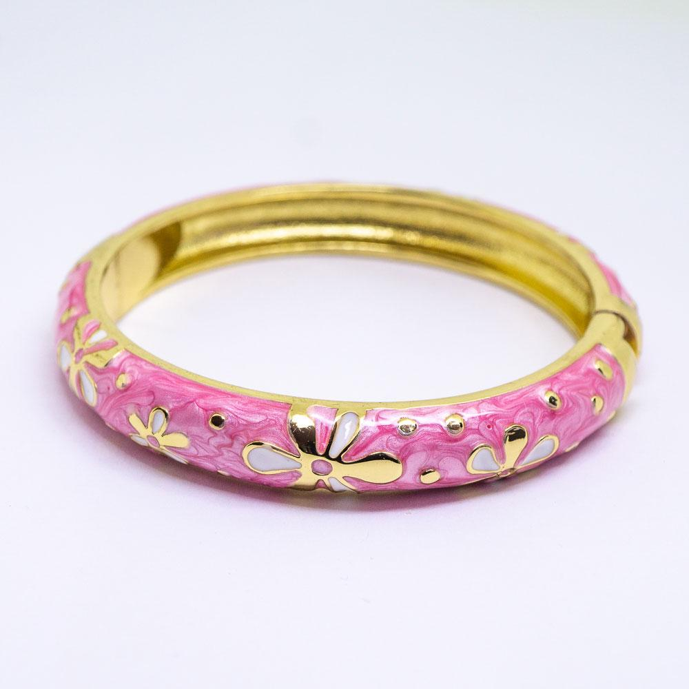 NEW - Enamel Bracelet Bangle - Tiare Flower Style