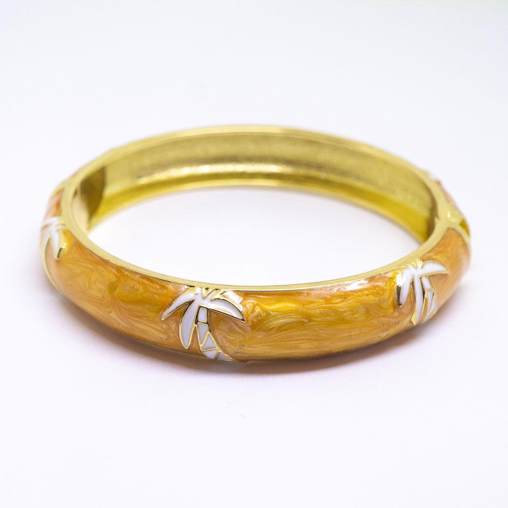 Enamel Bracelet Bangle - Palm Tree Style