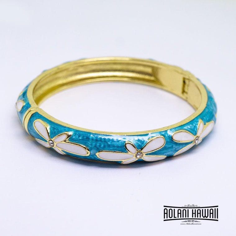 Enamel Bracelet Bangle - Plumeria Flower with CZ Style