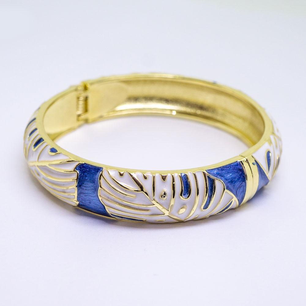 NEW - Enamel Bracelet Bangle -Monstera Leaf Style