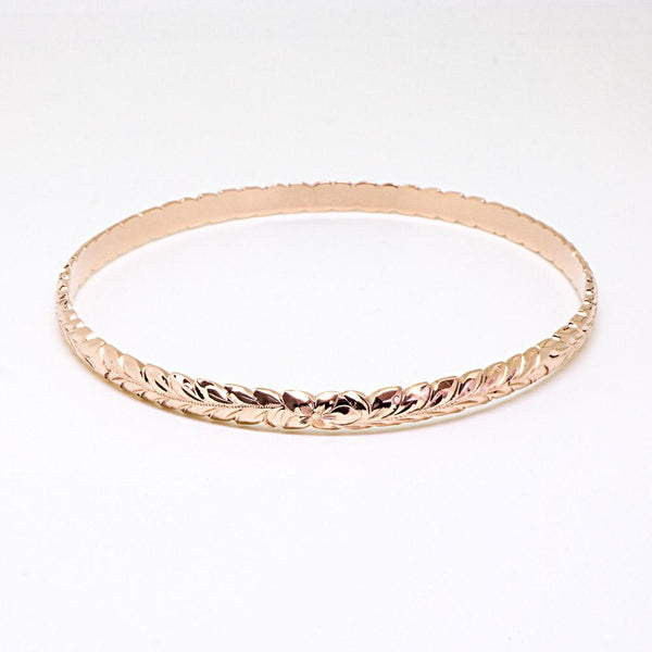 14K Gold Hawaiian Traditional Maile Design Bracelet Bangle (4mm Barrel)