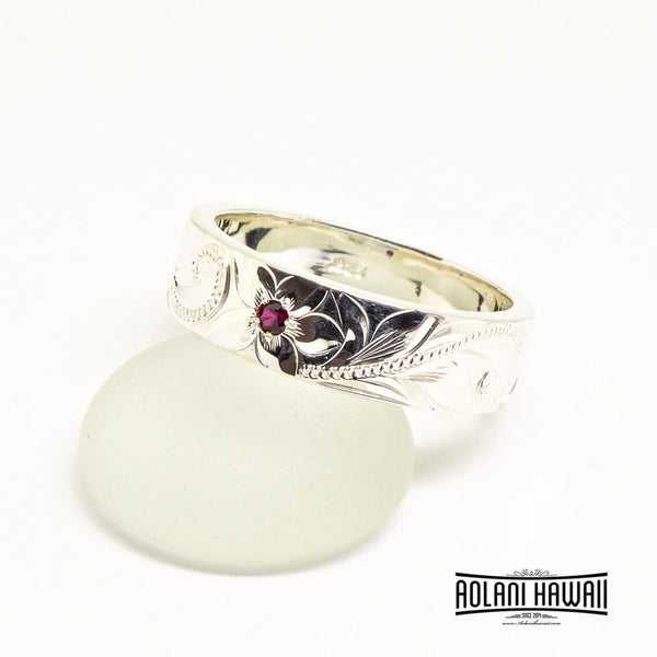 Hawaiian Handmade Sterling Silver Ring with Diamond or Birth Stone