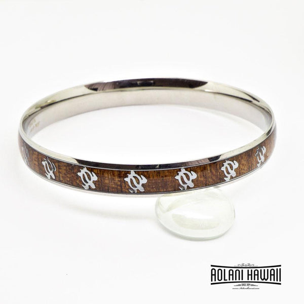 Honu Turtle Koa Wood Bracelet handmade with Stainless Steel (8mm width)