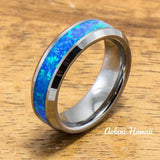 Wedding Band Set of Tungsten Rings with Opal Inlay (6mm & 4mm width, Flat Style) - Aolani Hawaii - 2