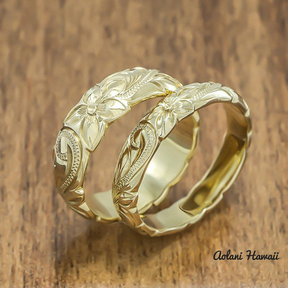 Gold Wedding Ring Set Of Traditional Hawaiian Hand Engraved 14k Yellow Gold  Barrel Rings (4mm U0026 6mm Width)