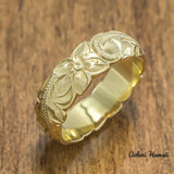 Gold wedding Ring Set of Traditional Hawaiian Hand Engraved 14k Yellow Gold Barrel Rings (4mm & 6mm width) - Aolani Hawaii - 2