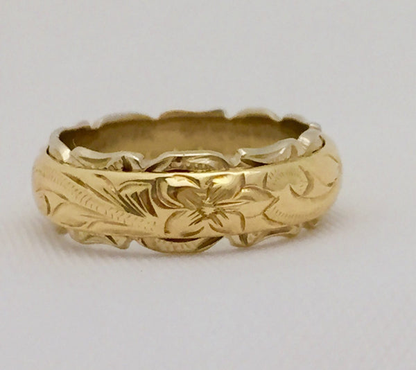 Traditional Hawaiian Hand Engraved 14k Two Tone Gold Ring (Barrel style) - Aolani Hawaii - 5
