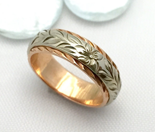 Traditional Hawaiian Hand Engraved 14k Two Tone Gold Ring 6mm x 4mm (Barrel style) - Aolani Hawaii - 1