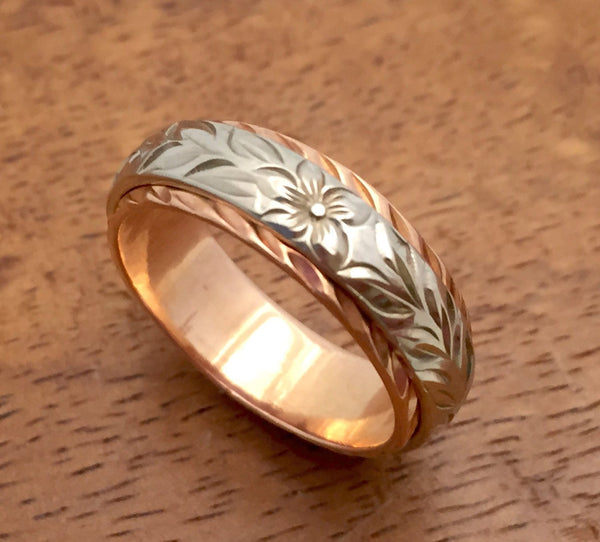 Traditional Hawaiian Hand Engraved 14k Two Tone Gold Ring 6mm x 4mm (Barrel style) - Aolani Hawaii - 3