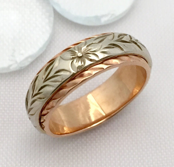 Traditional Hawaiian Hand Engraved 14k Two Tone Gold Ring 6mm x 4mm (Barrel style) - Aolani Hawaii - 2