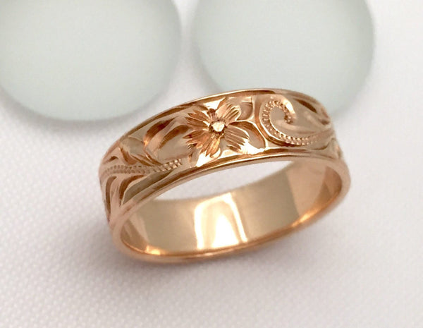 Traditional Hawaiian Hand Engraved 14k Gold Ring (6mm width, Flat Style) - Aolani Hawaii - 2