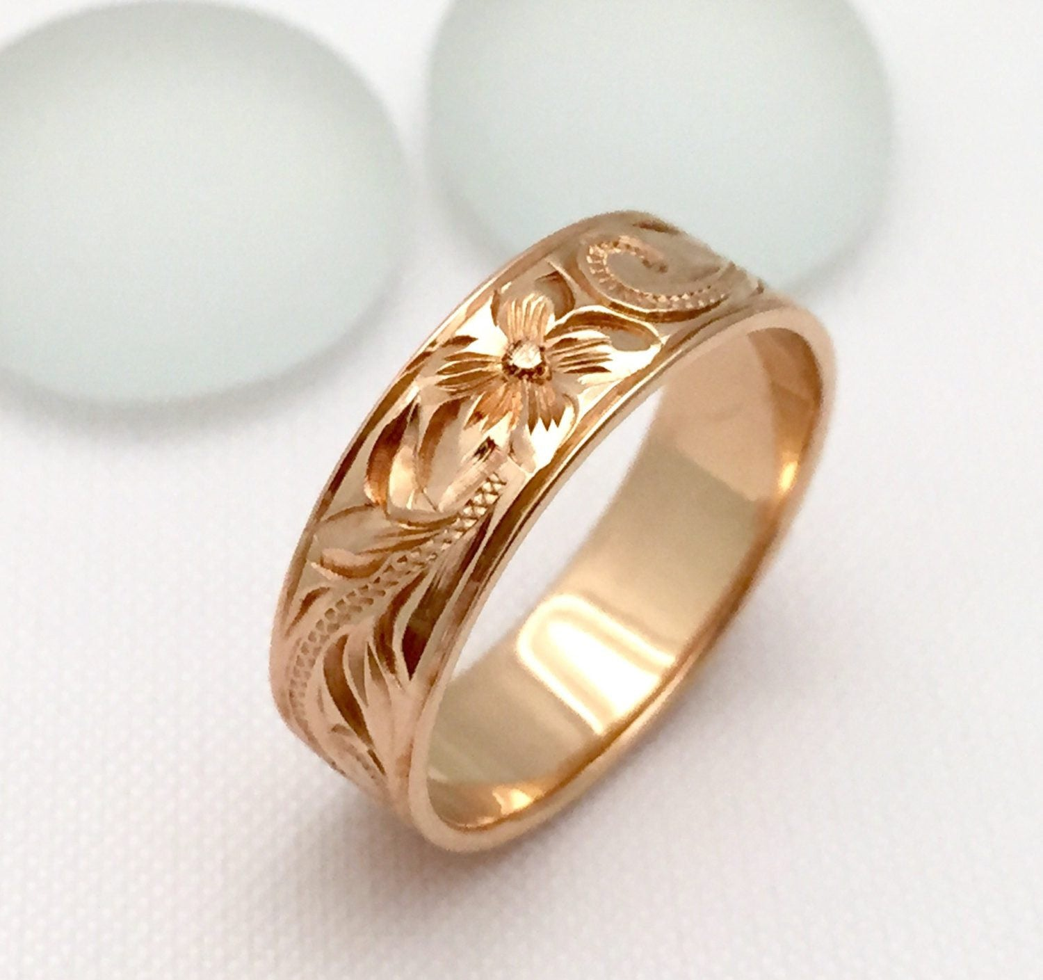 Traditional Hawaiian Hand Engraved 14k Gold Ring (6mm width, Flat Style) - Aolani Hawaii