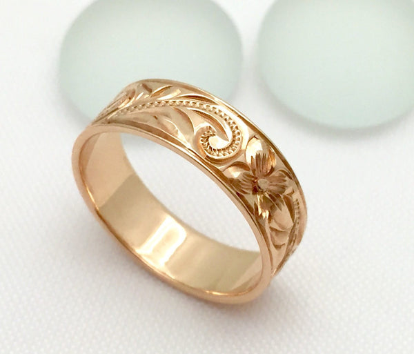 Traditional Hawaiian Hand Engraved 14k Gold Ring (6mm width, Flat Style) - Aolani Hawaii - 3