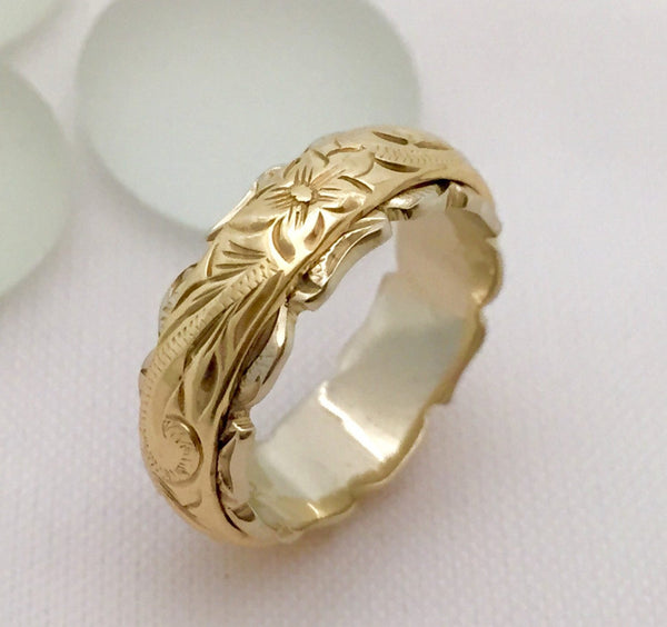 Traditional Hawaiian Hand Engraved 14k Two Tone Gold Ring (Barrel style) - Aolani Hawaii - 3