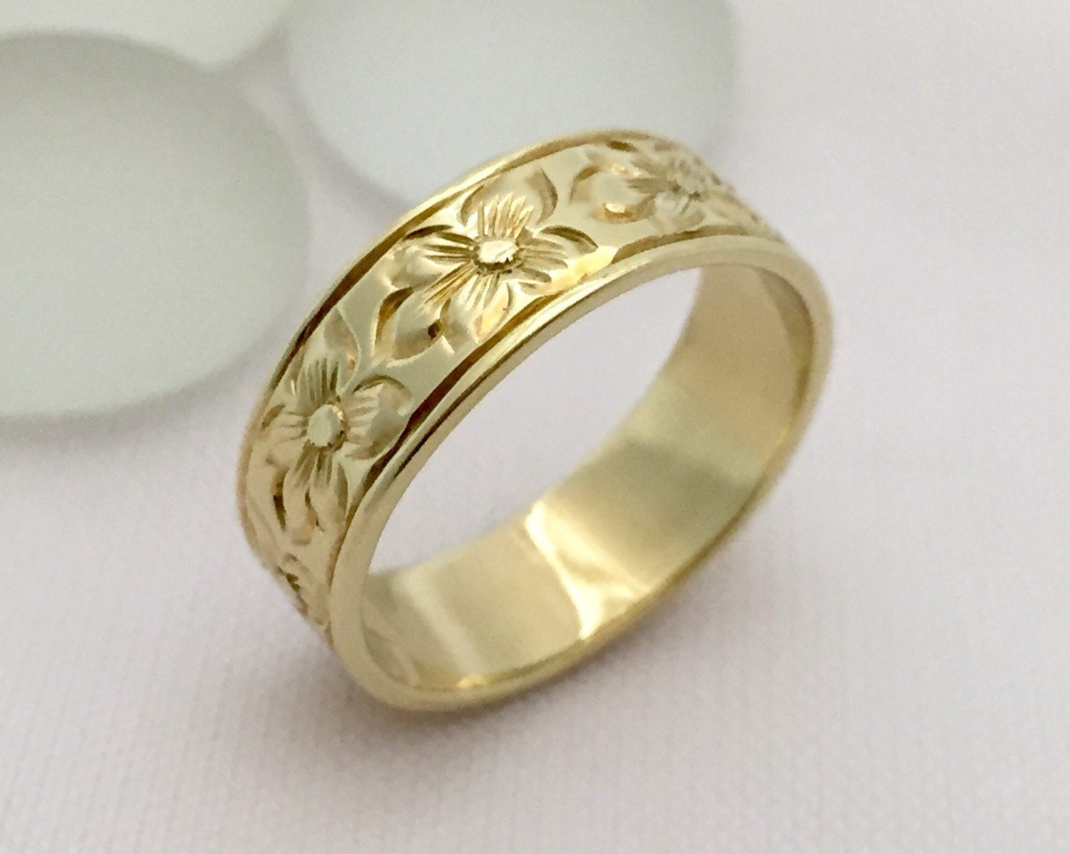 Traditional Hawaiian Hand Engraved 14K Gold (6mm Width Flat Ring) - Aolani Hawaii - 1