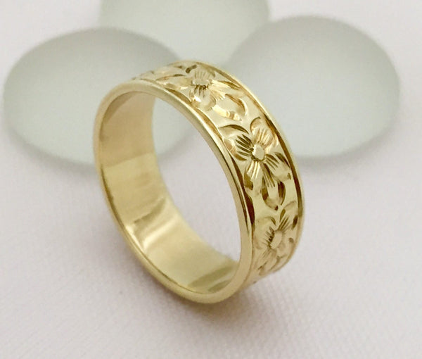 Traditional Hawaiian Hand Engraved 14K Gold (6mm Width Flat Ring) - Aolani Hawaii - 2