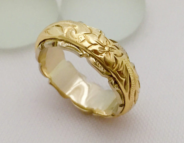 Traditional Hawaiian Hand Engraved 14k Two Tone Gold Ring (Barrel style) - Aolani Hawaii - 4