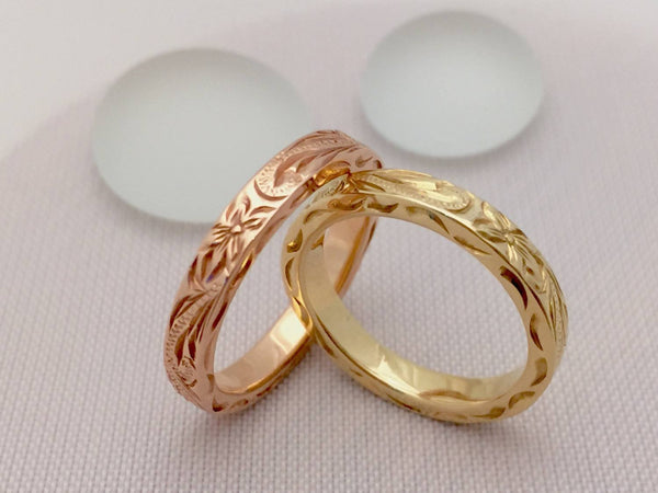 Traditional Hawaiian Hand Engraved 14K Gold Ring 3mm Width 2mm Thick Flat Style - Aolani Hawaii - 3