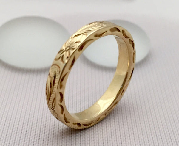 Traditional Hawaiian Hand Engraved 14K Gold Ring 3mm Width 2mm Thick Flat Style - Aolani Hawaii - 2