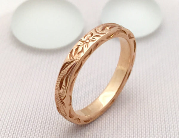 Traditional Hawaiian Hand Engraved 14K Gold Ring 3mm Width 2mm Thick Flat Style - Aolani Hawaii - 1