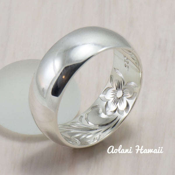 Set of Traditional Hawaiian Hand Engraved Sterling Silver Barrel Rings (4mm & 8mm width) - Aolani Hawaii - 2