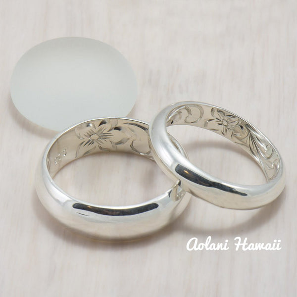 Set of Traditional Hawaiian Hand Engraved Sterling Silver Barrel Rings (4mm & 8mm width) - Aolani Hawaii - 1