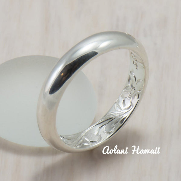 Set of Traditional Hawaiian Hand Engraved Sterling Silver Barrel Rings (4mm & 8mm width) - Aolani Hawaii - 3