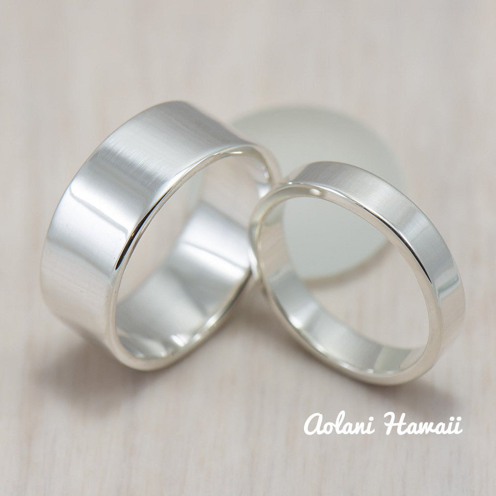 Silver Wedding Ring Set of Silver Flat Rings (4mm & 8mm width) - Aolani Hawaii - 1
