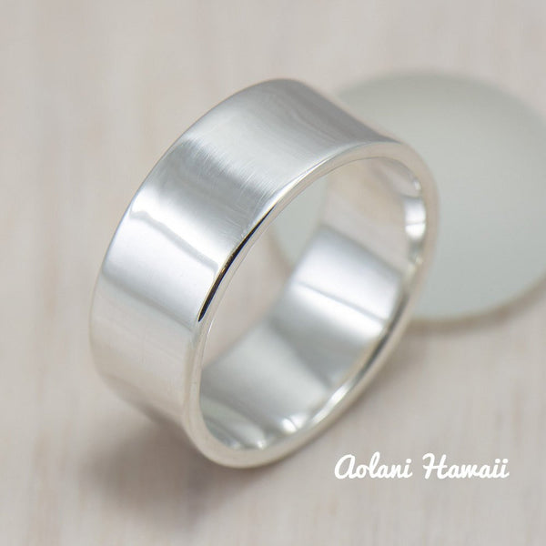 Silver Wedding Ring Set of Silver Flat Rings (6mm & 8mm width) - Aolani Hawaii - 2