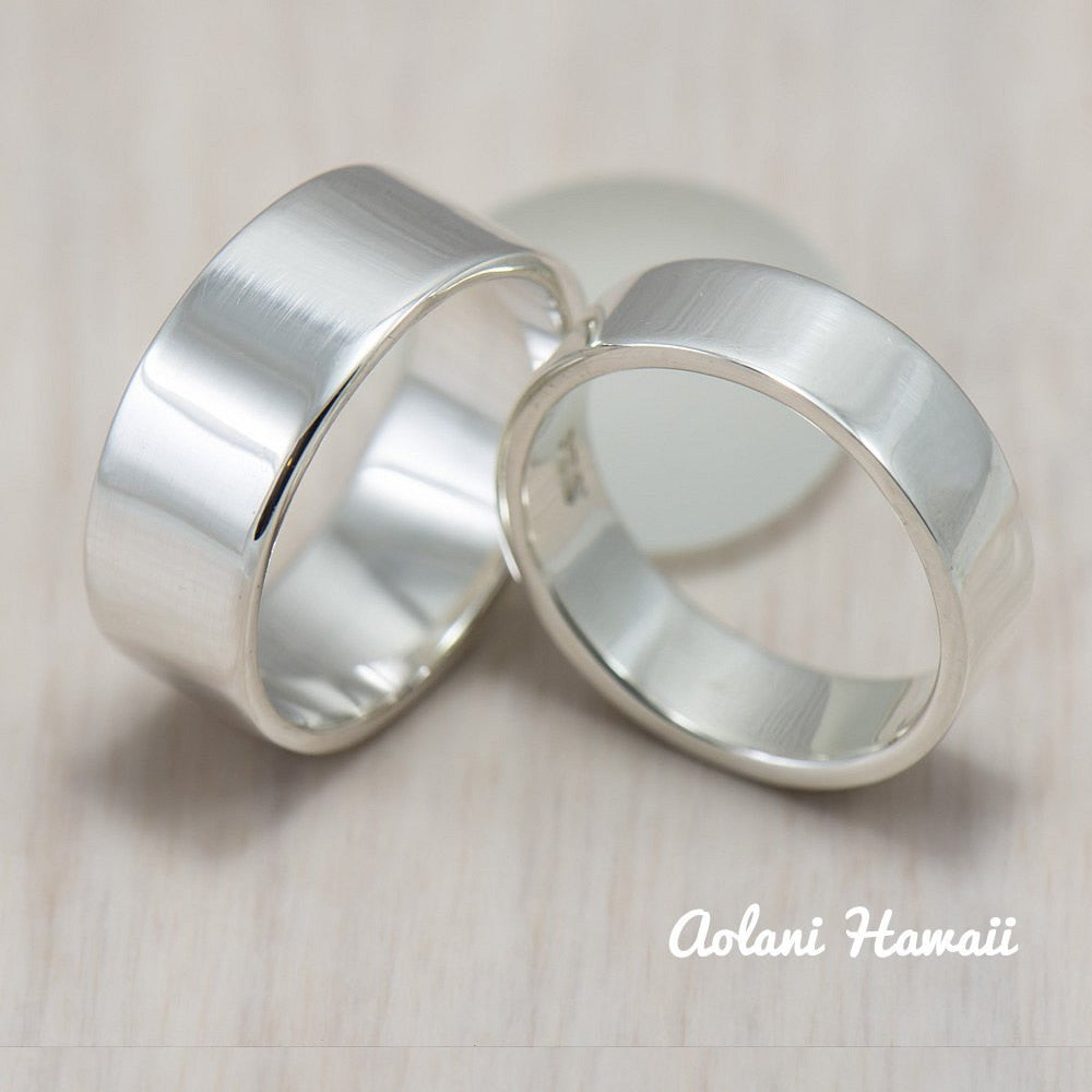 Silver Wedding Ring Set of Silver Flat Rings (6mm & 8mm width) - Aolani Hawaii - 1