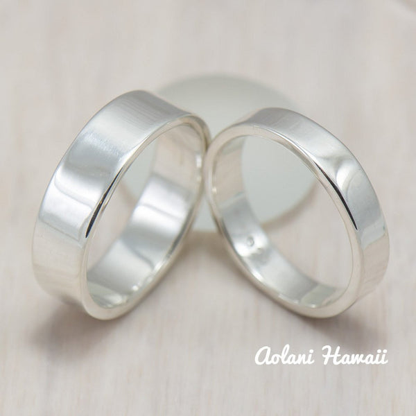 Silver Wedding Ring Set of Silver Flat Rings (4mm & 6mm width) - Aolani Hawaii - 1
