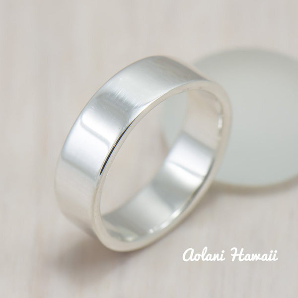 Silver Wedding Ring Set of Silver Flat Rings (6mm & 8mm width) - Aolani Hawaii - 3