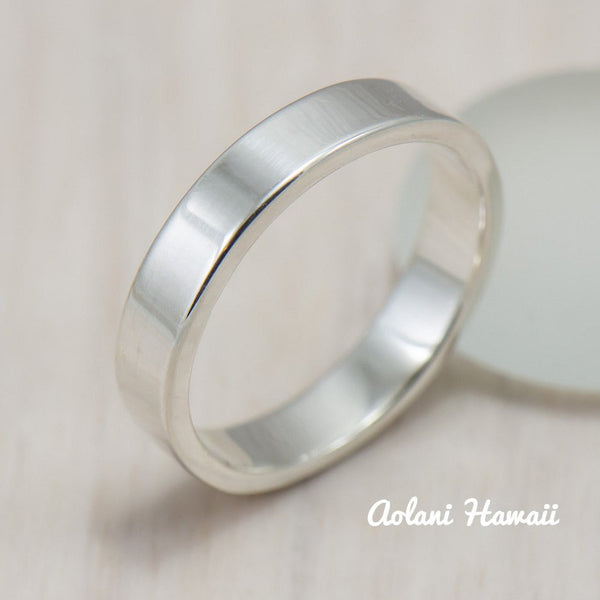 Silver Wedding Ring Set of Silver Flat Rings (4mm & 8mm width) - Aolani Hawaii - 3