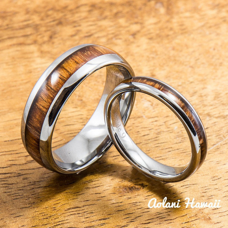 wedding band set of tungsten rings with hawaiian koa wood inlay 4mm 8mm width - Hawaiian Wedding Rings