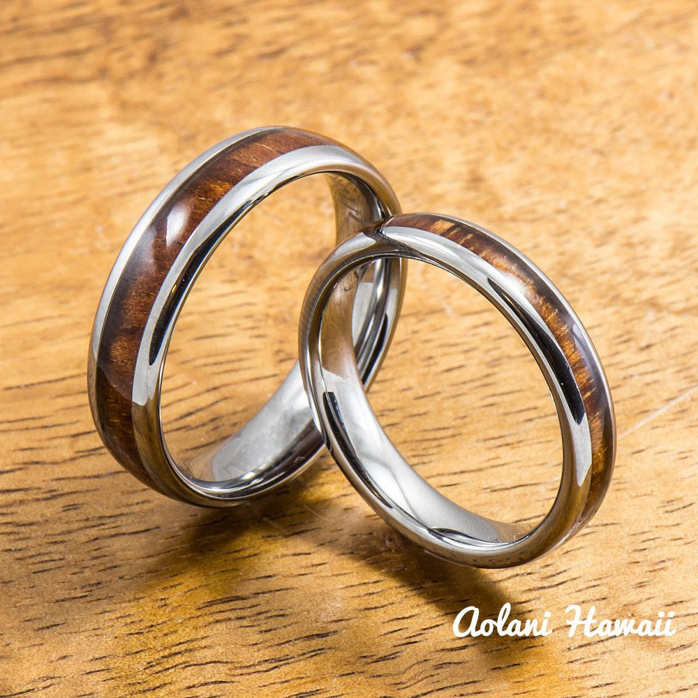 Wedding Band Set of Tungsten Rings with Hawaiian Koa Wood Inlay (4mm & 6mm width, Barrel Style) - Aolani Hawaii - 1