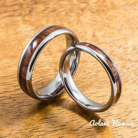 Wedding Band Set of Tungsten Rings with Hawaiian Koa Wood Inlay (4mm & 6mm width, Barrel Style)